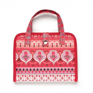 Red floral print carrying case; double handles; one snap closure.